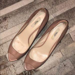 Authentic Prada nude open toe pumps